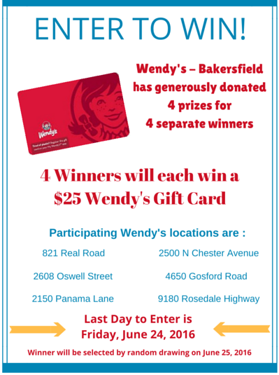 Wendy's Gift Cards for CC