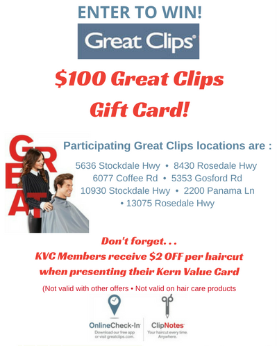 enter to win 100 great clips gift card kern value card